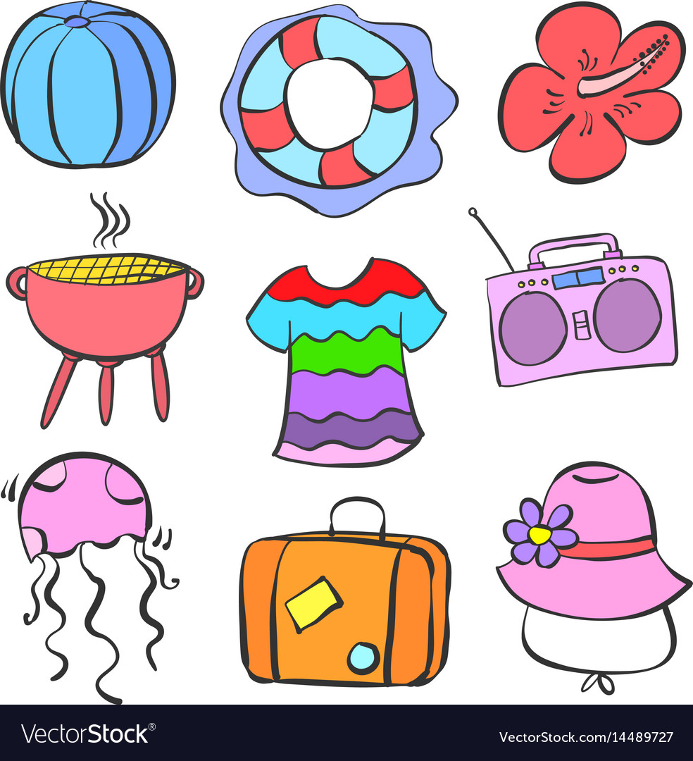 Collection stock summer element doodle set vector image