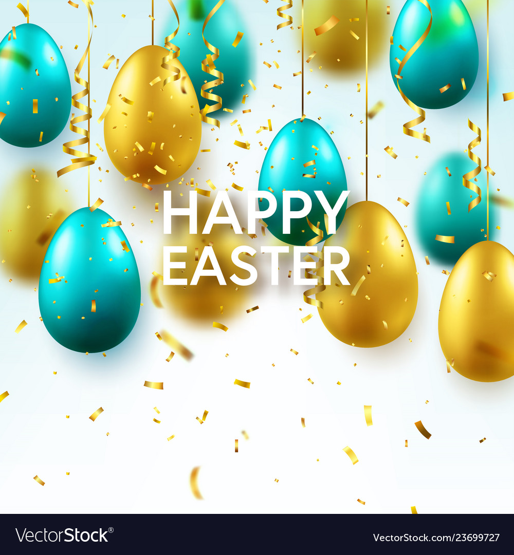 Easter golden green egg with calligraphic
