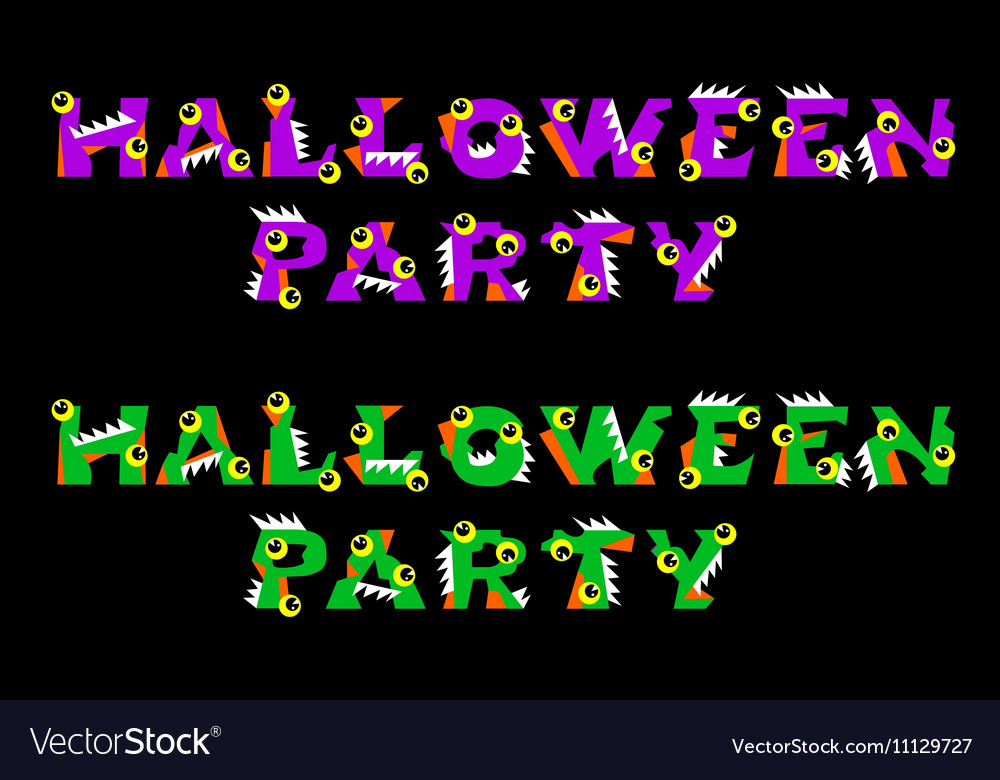 Halloween text holiday greeting and lettering with