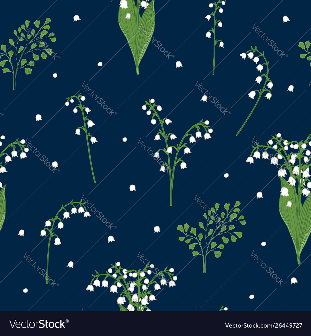 Lily valley seamless pattern