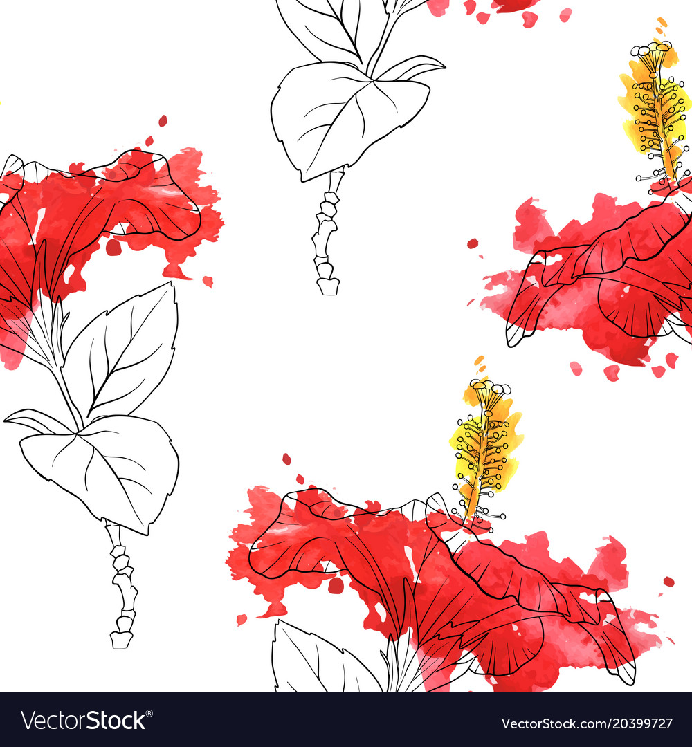 Seamless pattern with flowers of hibiscus