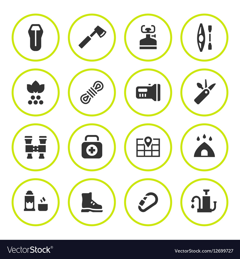 Set round icons of camping
