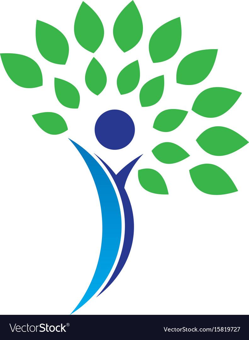 Tree people leaf eco nature logo