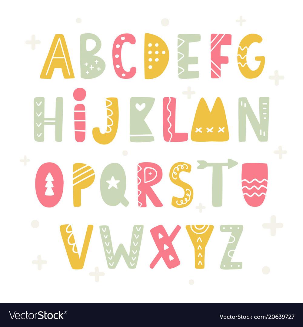Trendy scandinavian folk alphabet