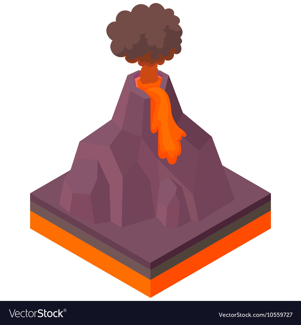 Volcano erupting icon cartoon style vector image