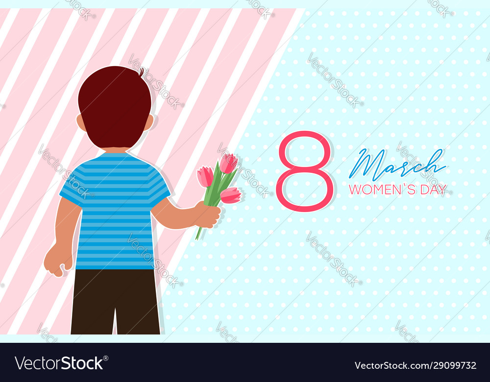 8 march card with boy who gives flowers