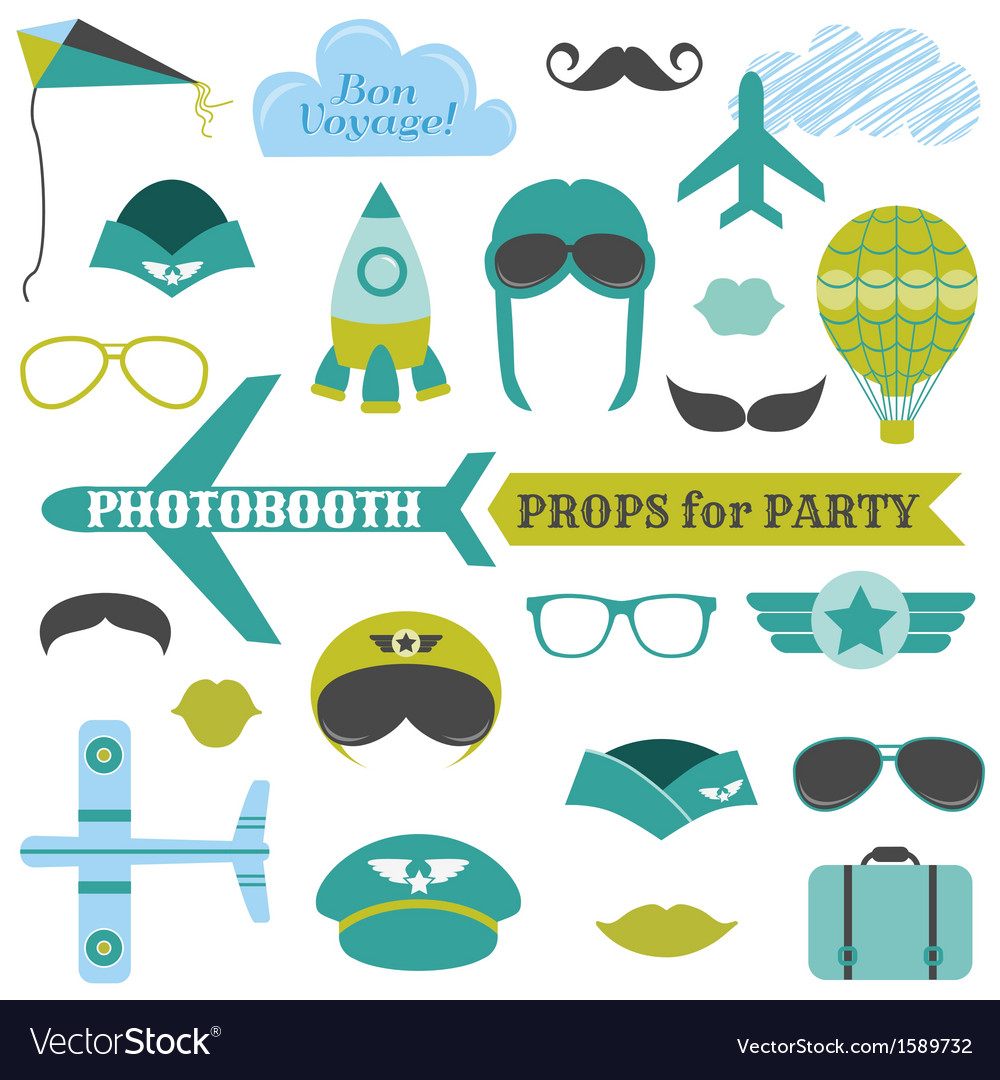 Airplane Party Set Photobooth Props Royalty Free Vector