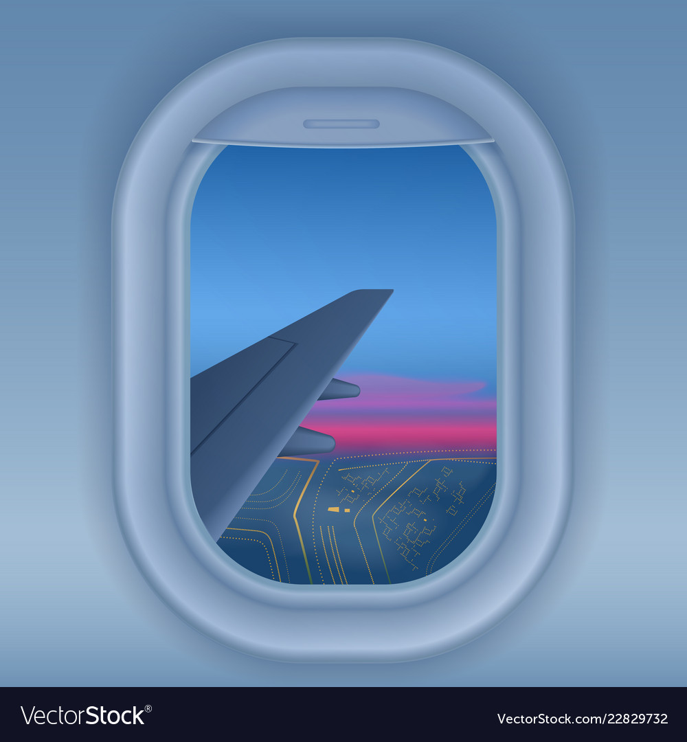 Airplane Window At Night Night City From Sky View Vector Image