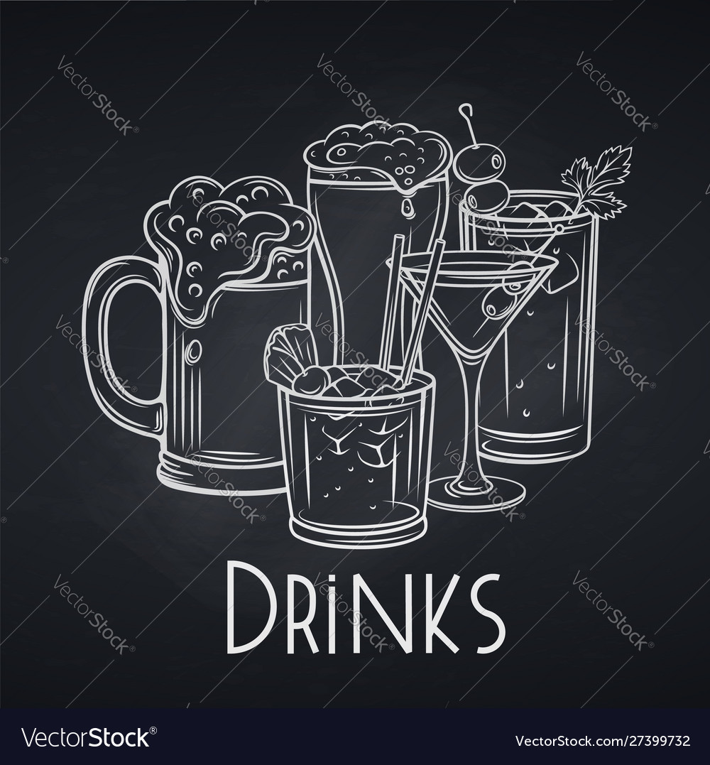 Alcoholic drinks banner chalkboard style