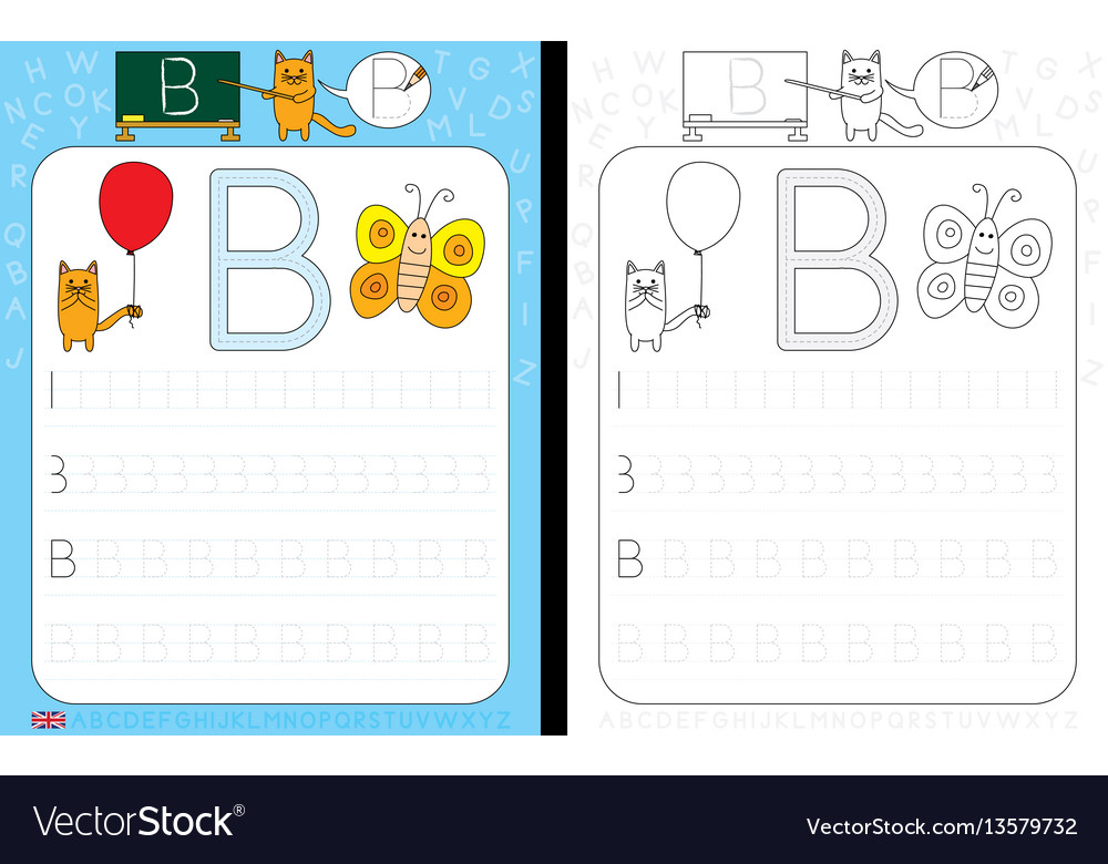 Alphabet tracing worksheet vector image