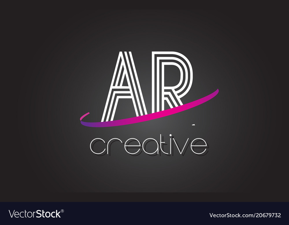 Ar a r letter logo with lines design and purple
