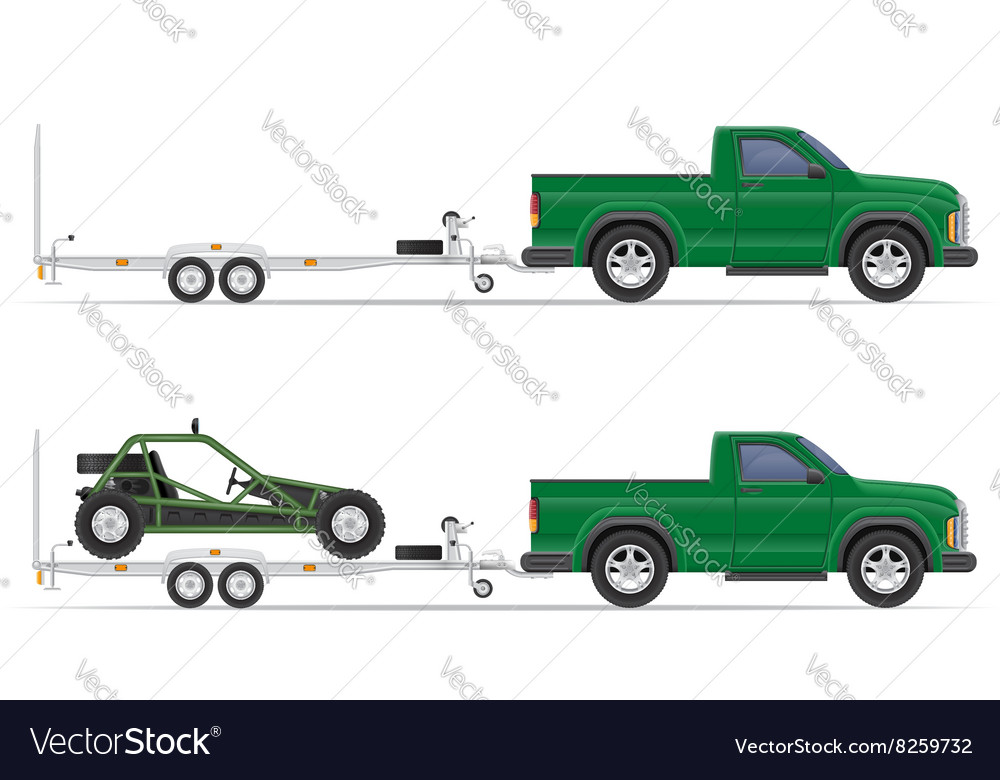Car pickup with trailer 01