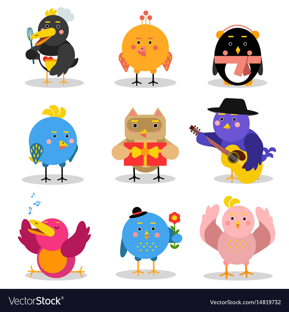 Cute cartoon birds with different emotions and