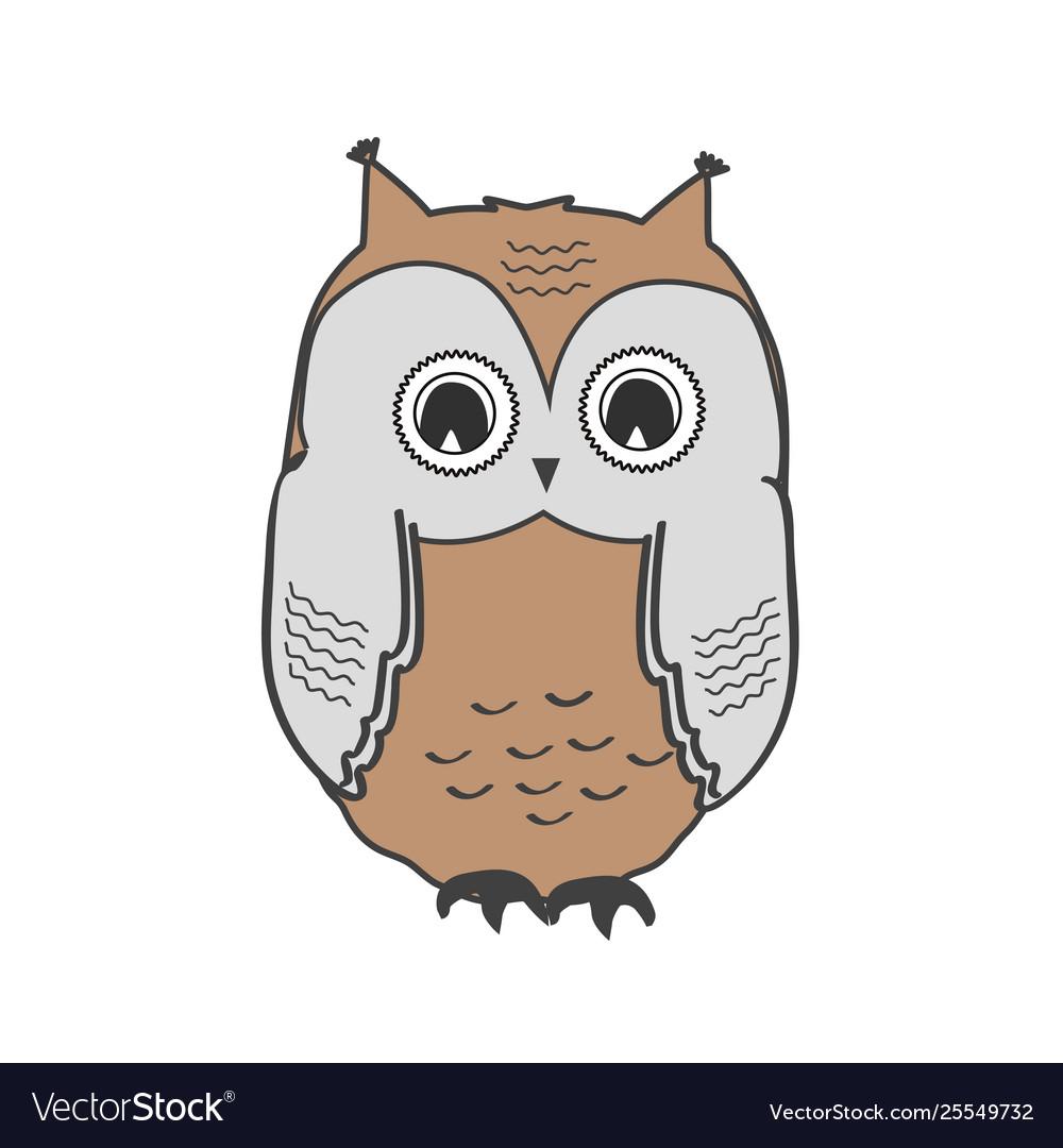 Cute owl icon isolated on white wild bird