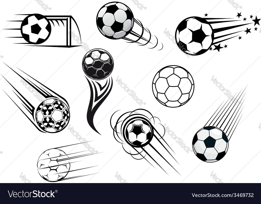 Flying soccer balls vector image
