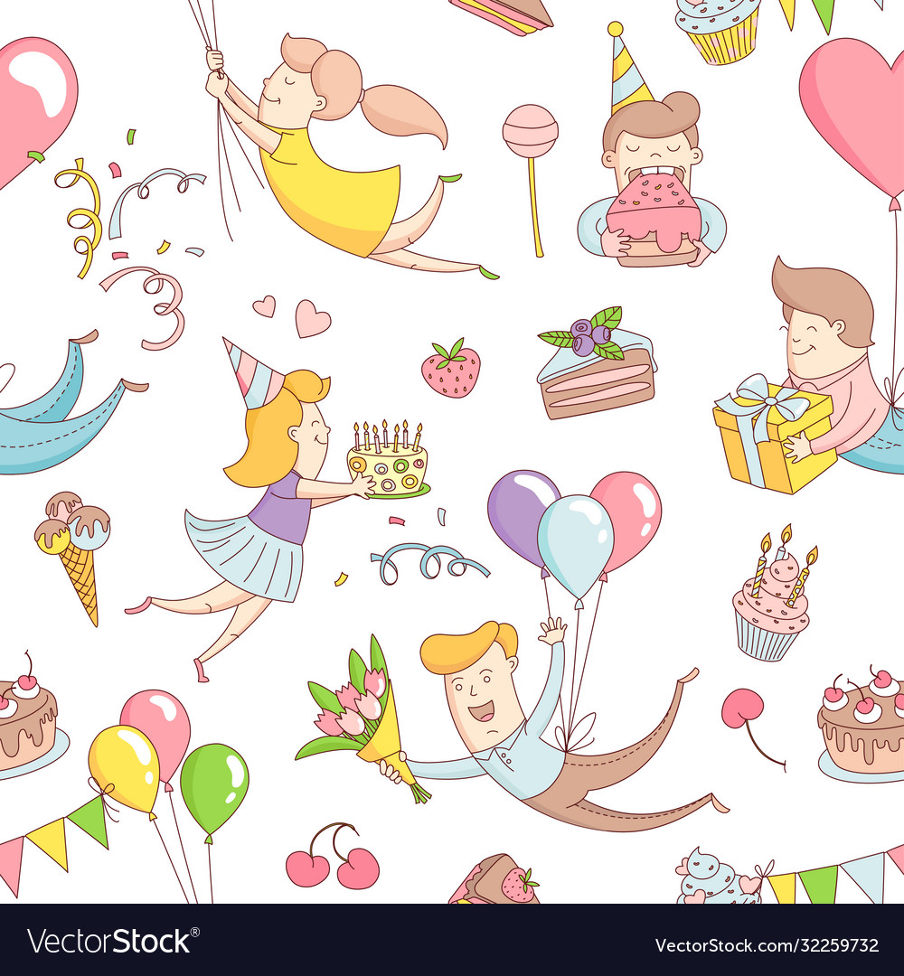 Happy birthday party greeting seamless pattern