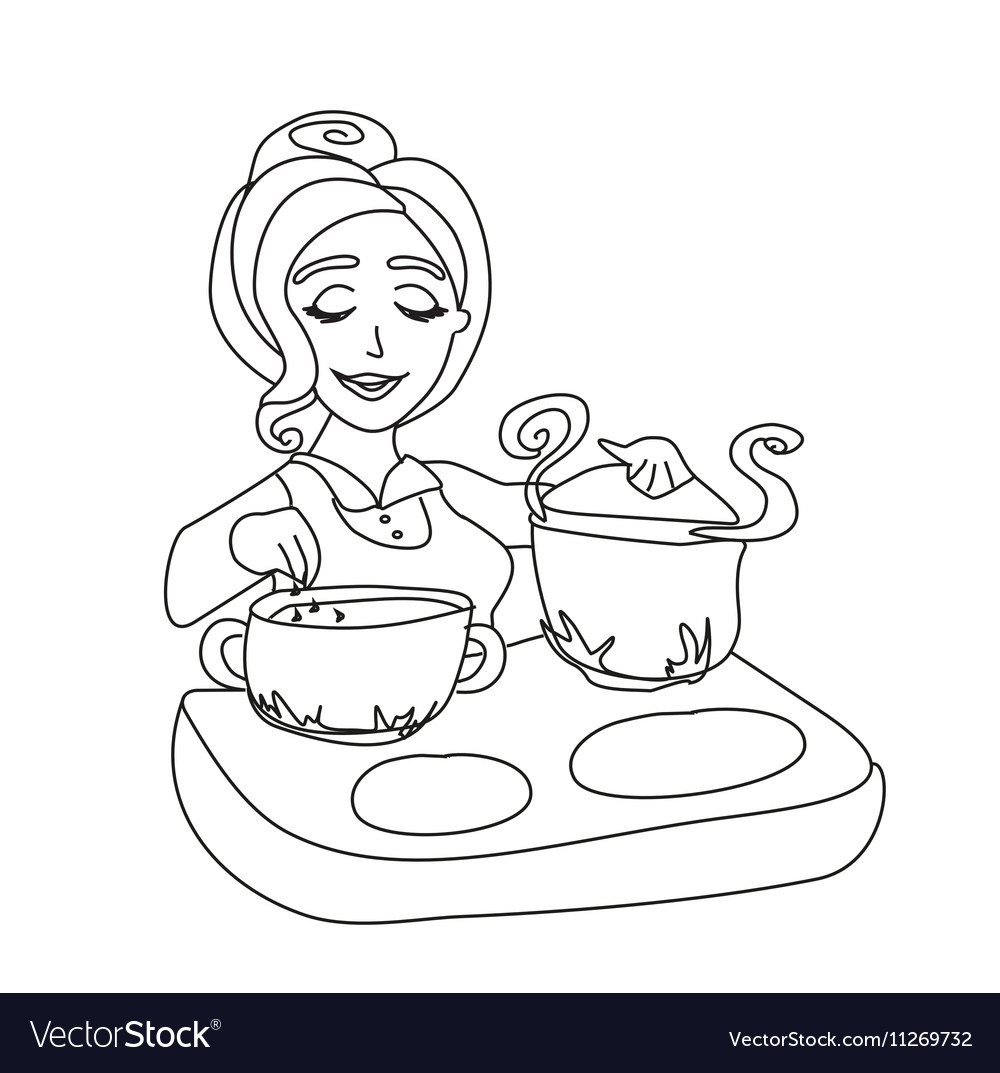 Housewife Cooking Soup Royalty Free Vector Image