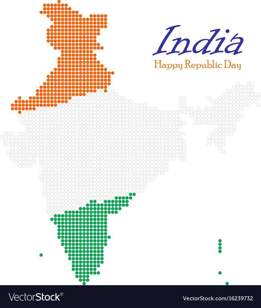 India dotted map independence day map silhouette