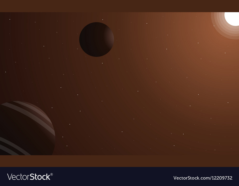 Landscape of retro outer space with planet