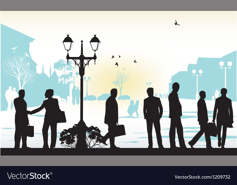 People silhouettes in blue background