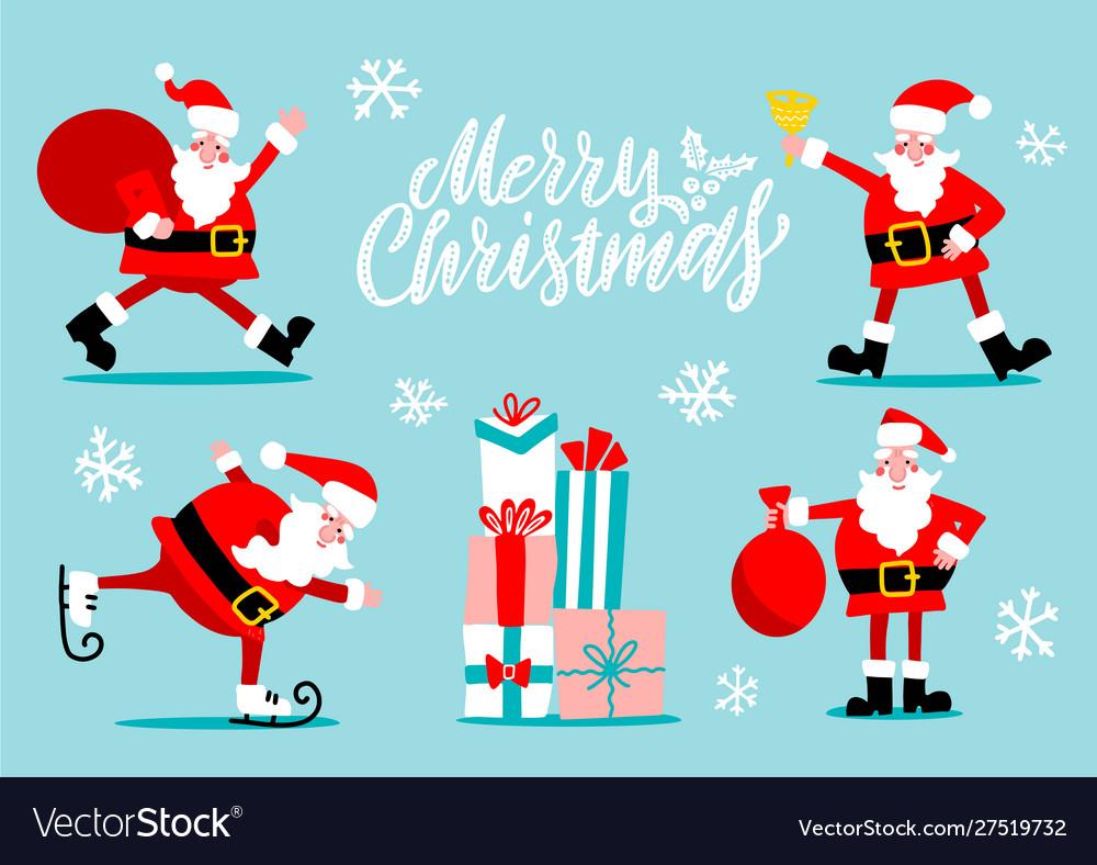 Santa claus characters set santa with golden bell