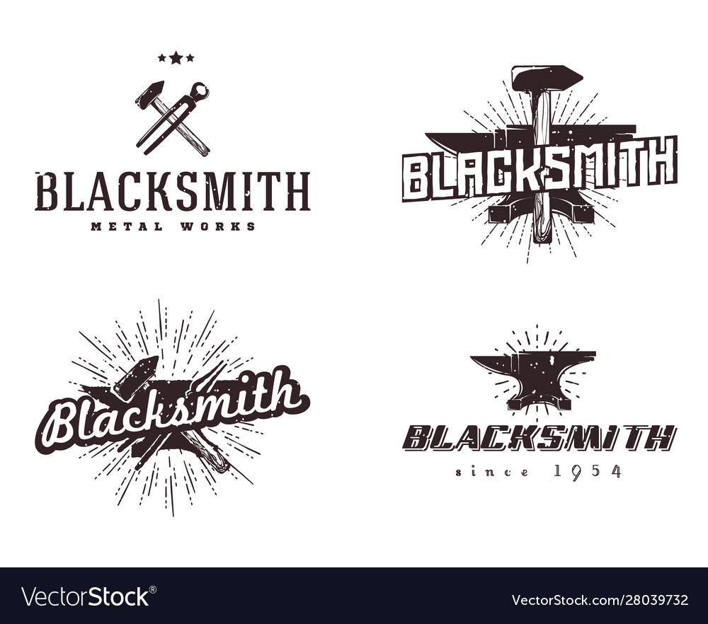 Set blacksmith and metalworks badges logos