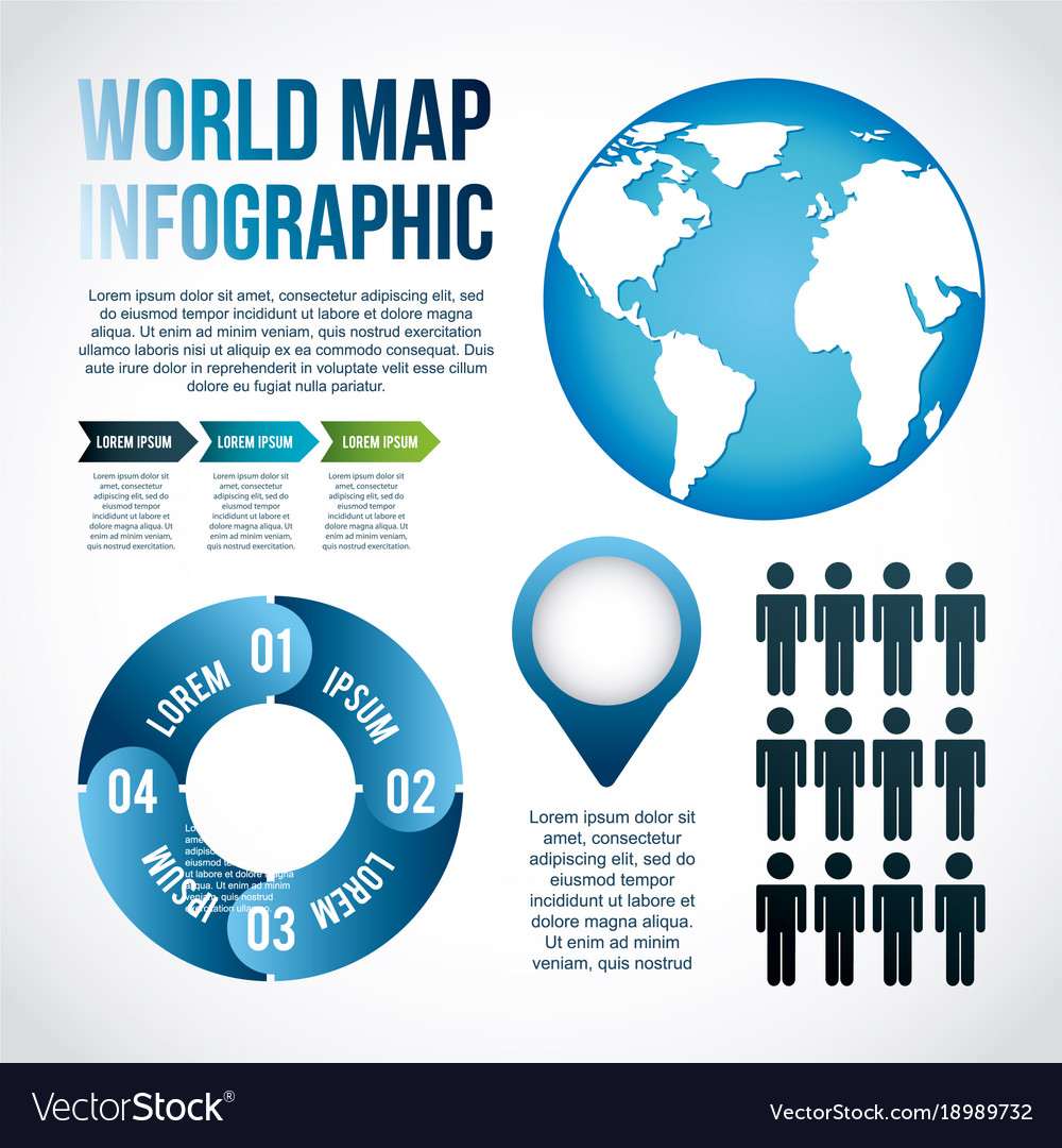 World map infographic chart population royalty free vector world map infographic chart population vector image gumiabroncs Images