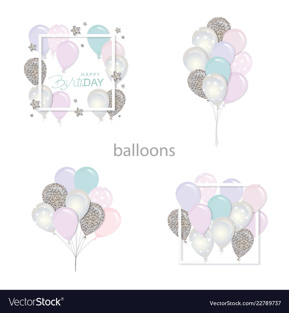 Balloons set with glitter birthday and holidays
