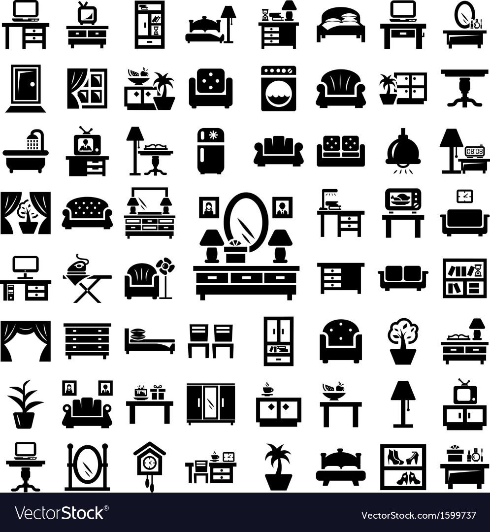 Big furniture icons set vector image