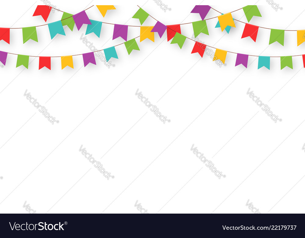 Carnival garland with flags decorative colorful