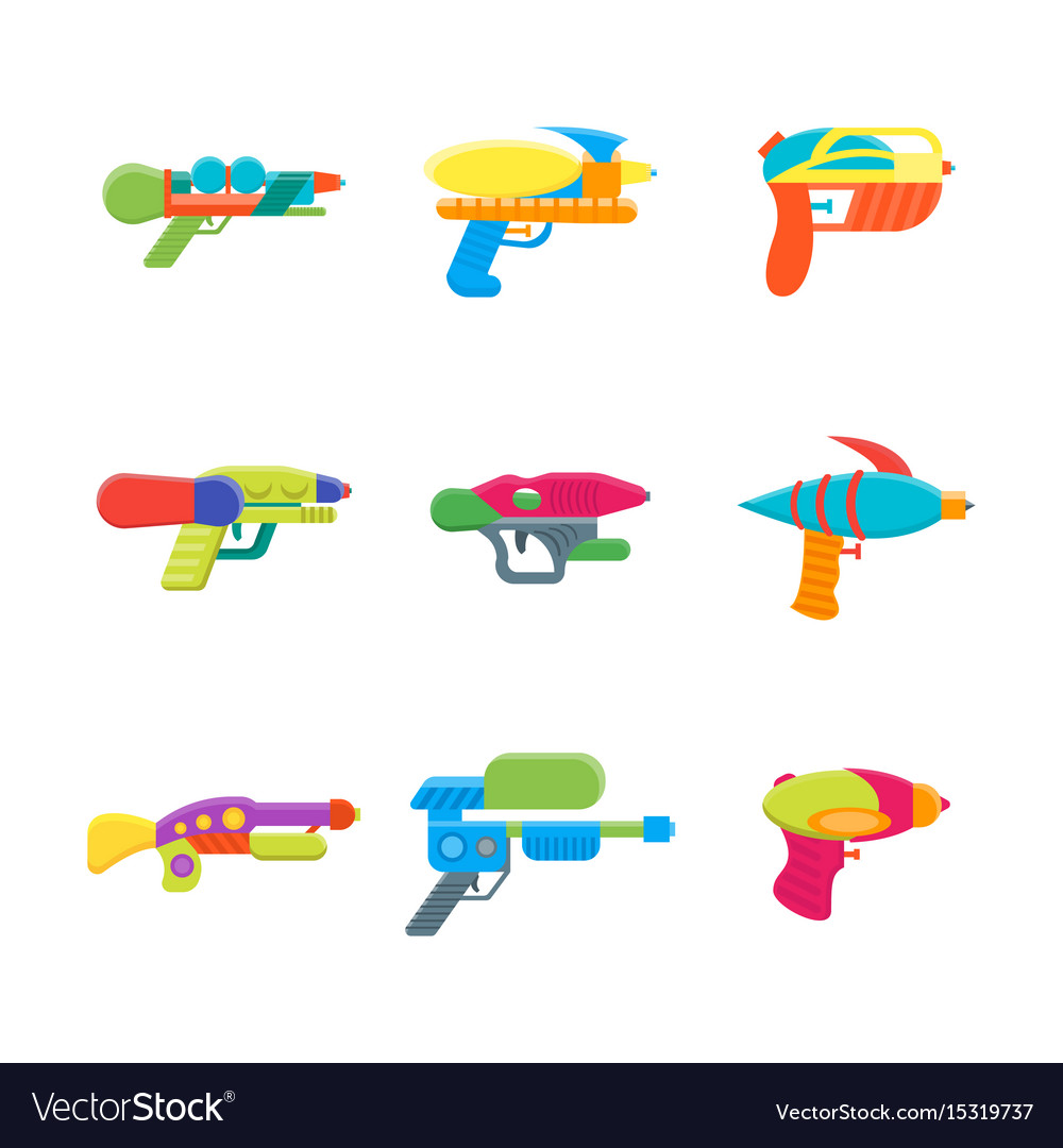Cartoon toy water guns color icons set