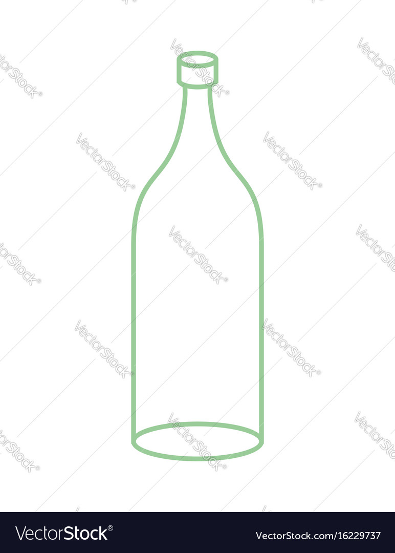 Empty glass bottle isolated transparent flask on