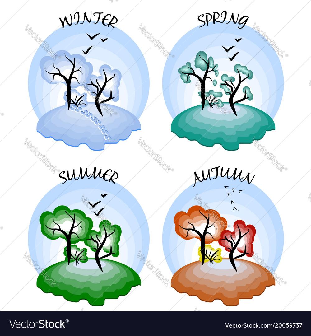 Four seasons winter spring summer autumn