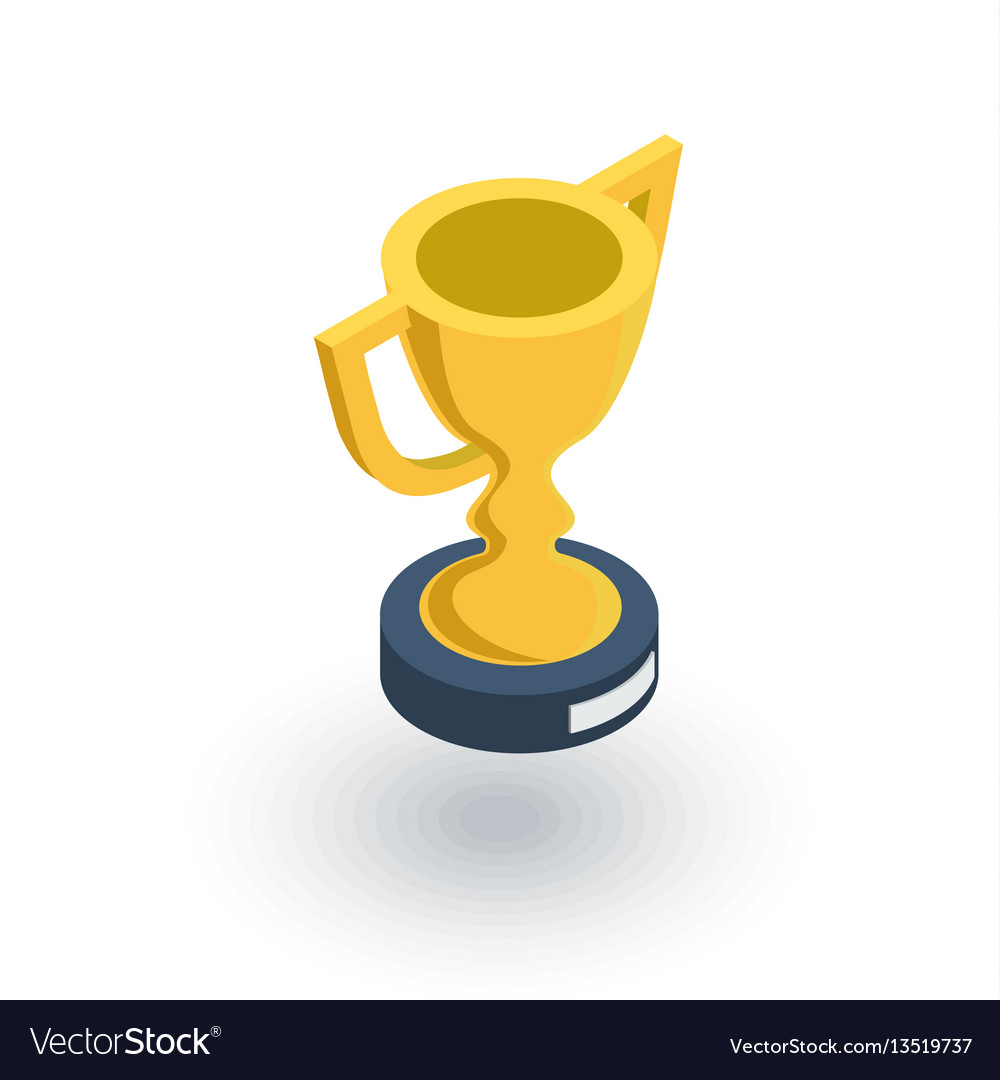 Golden trophy cup isometric flat icon 3d