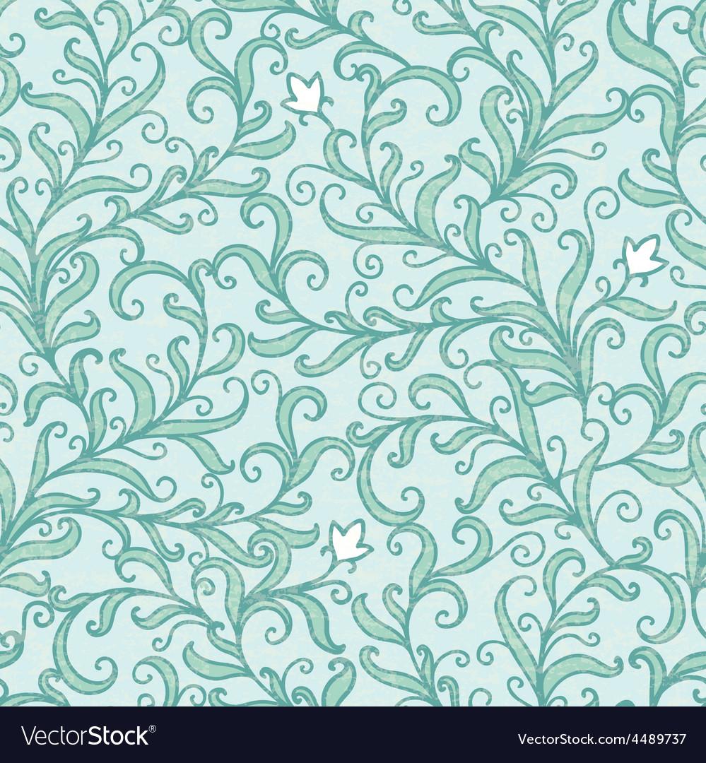 Green floral swirls seamless pattern
