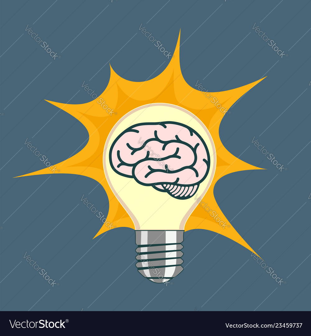Light bulb with human brain inside