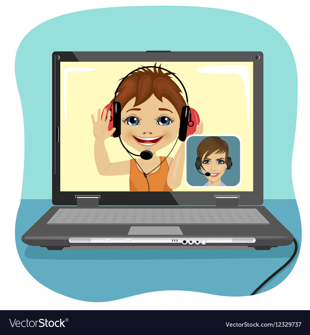 Little boy chatting with his mother via internet