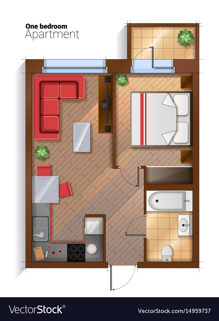 Modern one bedroom apartment top view Royalty Free Vector