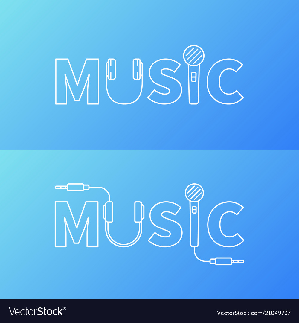 Music Word Logo Or Symbol In Line Style Royalty Free Vector