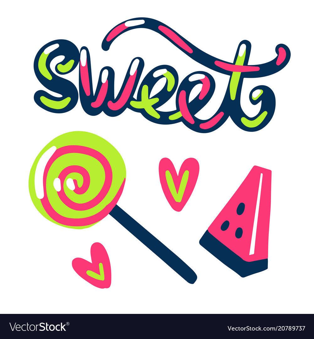 Sweet stickers candy and watermelon