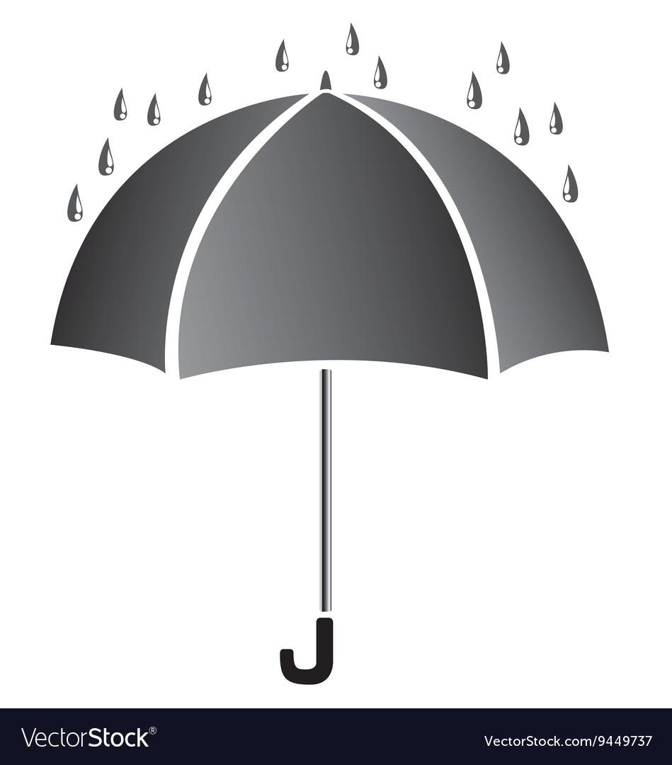 Umbrella with water Black umbrella isolated on
