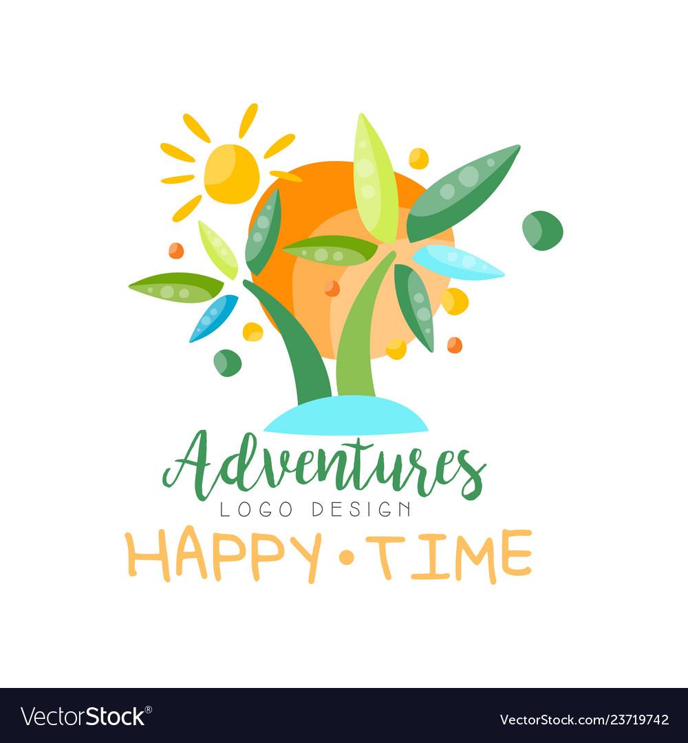Adventures happy time logo design beach summer