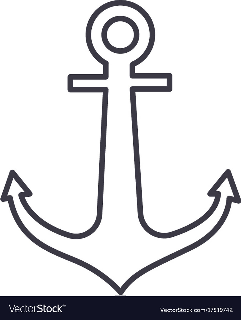 Anchor line icon sign on
