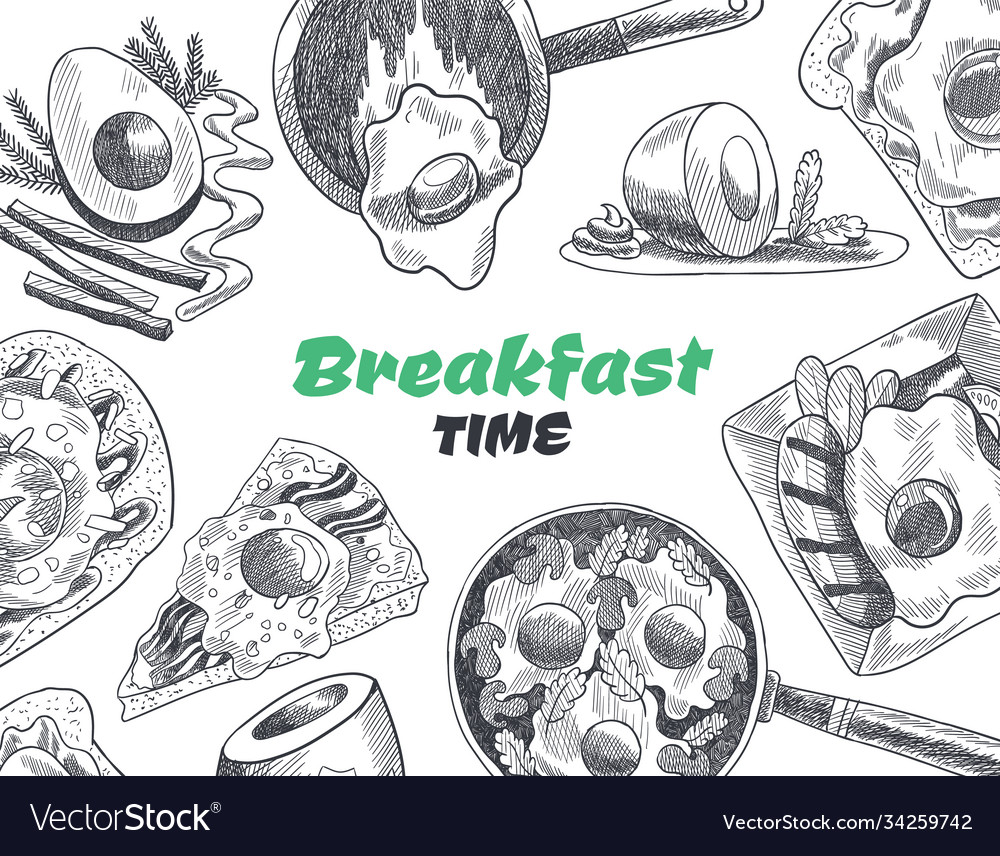 Breakfasts and brunches top view food menu cover
