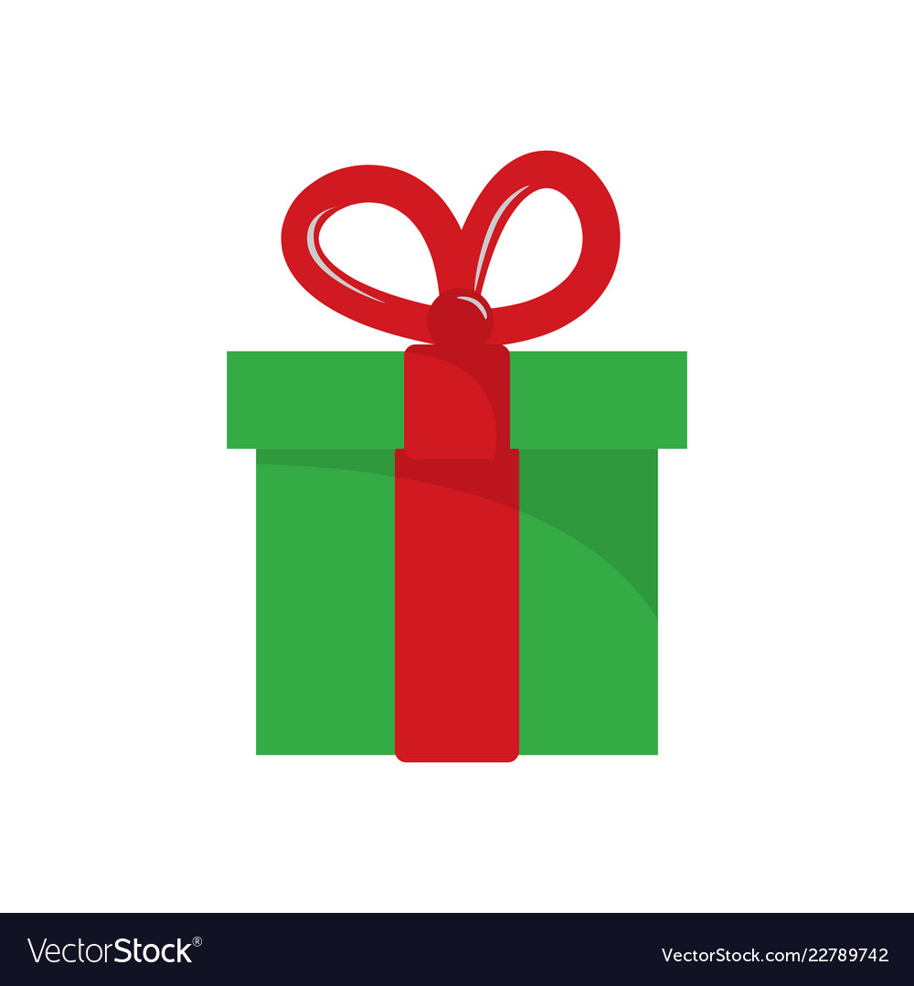 Christmas Gift Box Flat On White Background Vector Image