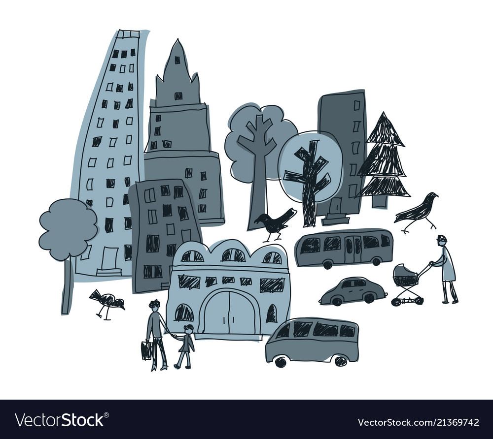 Doodles urban city abstract landscape and people