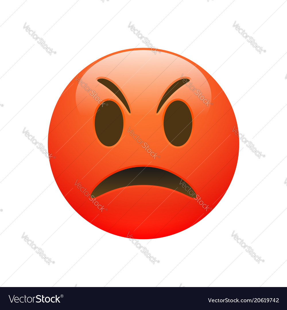 Emoji red angry sad face vector image