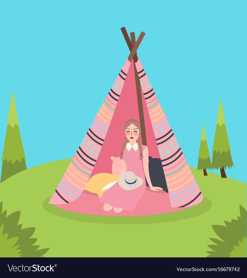 Girl inside teepee traditional native america tent vector image  sc 1 st  VectorStock & Girl inside teepee traditional native america tent