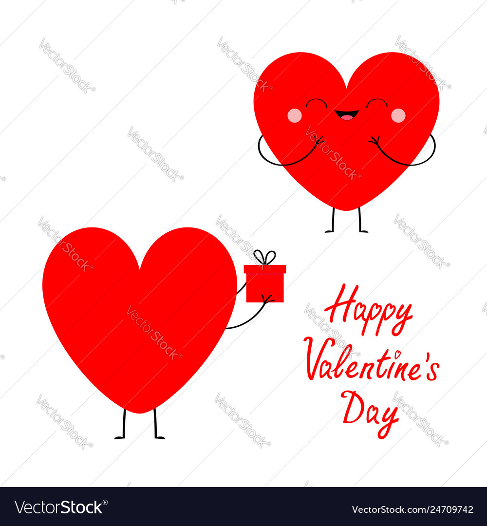 Happy valentines day red heart couple in love