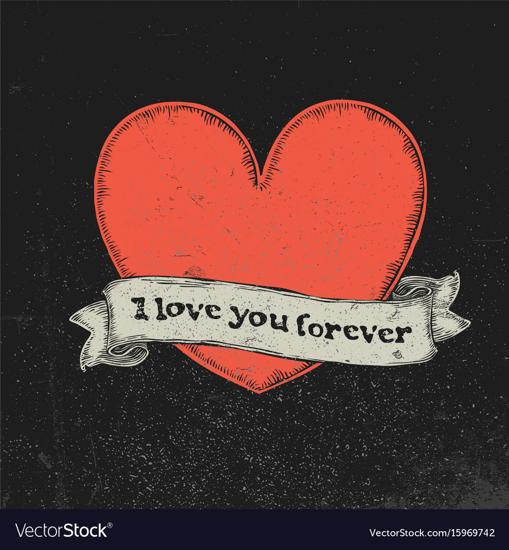 I love you forever text on vintage ribbon over